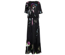 Wrap-effect Floral-print Mulberry Silk-blend Chiffon And Jacquard Maxi Dress