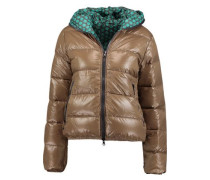 Reversible hooded quilted shell down jacket