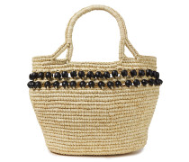 Woman Bead-embellished Woven Toquilla Straw Tote Neutral