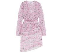 Ruched Floral-print Silk-chiffon Mini Dress