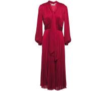 Macin Tie-neck Pleated Washed-satin Midi Dress