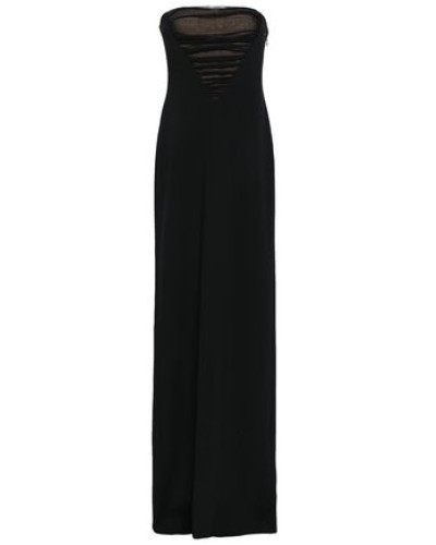 Strapless Ruched Tulle-paneled Crepe Gown Black