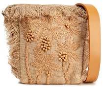 Barry Small Embroidered Raffia And Jute Shoulder Bag