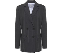 Double-breasted Pinstriped Linen-blend Blazer
