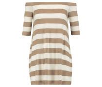Off-the-shoulder Striped Stretch-jersey Mini Dress Hellbraun