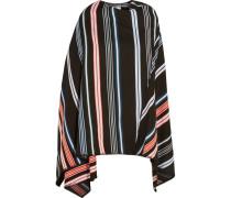 Striped Wool-blend Poncho Schwarz