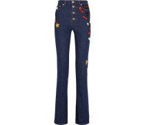 Embroidered High-rise Flared Jeans Dunkler Denim