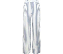Shadow striped linen wide-leg pants