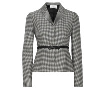 Houndstooth-print Wool And Silk-blend Blazer Schwarz