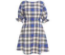 Open-back Checked Wool-twill Mini Dress