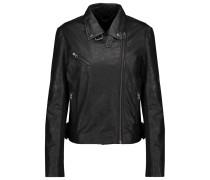 Canes Textured-leather Biker Jacket Schwarz