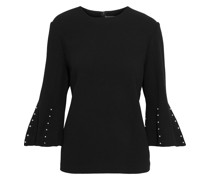Faux Pearl-embellished Wool-crepe Top