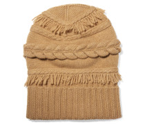 Fringed Cable-knit Wool And Cashmere-blend Beanie Braun