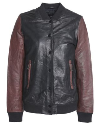 Two-tone Leather Bomber Jacket Brown