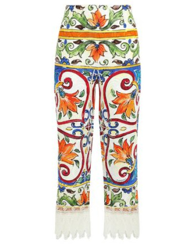 Cropped Lace-trimmed Printed Cotton-blend Jacquard Wide-leg Pants Off-white