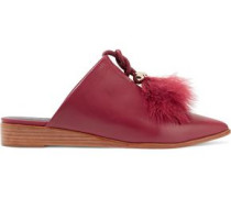 Sofie feather-embellished leather slippers