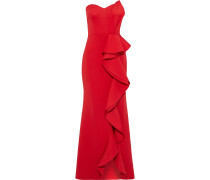 Strapless Ruffled Scuba Gown