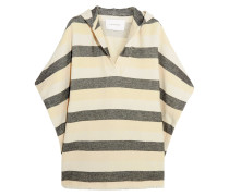 The Beach Cape Striped Basketweave Cotton-blend Poncho Creme