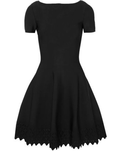 Laser-cut Knitted Mini Dress Black