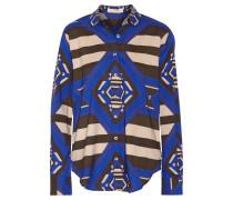 Printed Crepe De Chine Shirt Blau