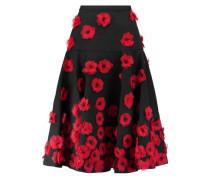 Appliquéd cotton-blend matelassé midi skirt