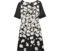 Organza-paneled Metallic Brocade Dress Schwarz