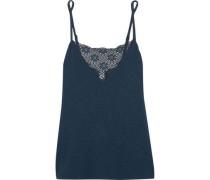 Cara lace-paneled slub stretch-jersey camisole