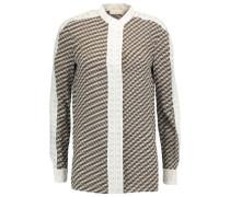 Jeane crochet-knit trimmed printed silk shirt