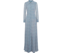 Pleated Printed Chiffon Gown