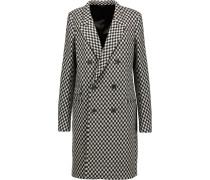 Checked Wool-blend Coat Schwarz