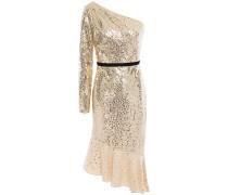 One-shoulder Velvet-trimmed Sequined Tulle Dress
