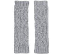 Cable-knit Cashmere Gloves Grau