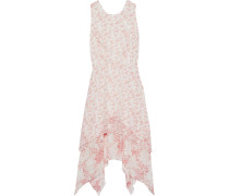 Asymmetric Floral-print Chiffon Dress