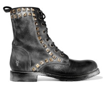 Rogan Studded Distressed Leather Boots Schwarz
