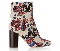 Guya Embroidered Suede Boots Ecru