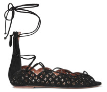 Carine Lace-up Laser-cut Suede Sandals