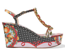Embellished Printed Patent-leather Wedge Sandals Mehrfarbig
