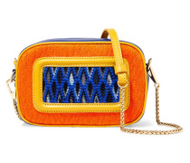 Paneled Crochet-knit And Leather Shoulder Bag Orange