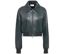 Zarla Leather Bomber Jacket