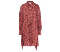 Draped Snake-print Twill Mini Shirt Dress
