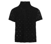 Turtleneck Sequin And Bead-embellished Guipure Lace Top Schwarz