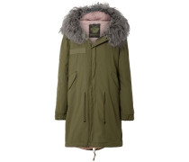 Shearling-lined Cotton-canvas Hooded Parka Army Green