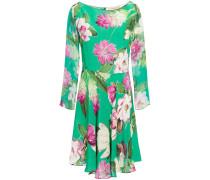 Asymmetric Floral-print Silk Crepe De Chine Dress