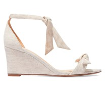 Clarita Bow-embellished Linen-canvas Wedge Sandals
