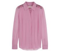 Embroidered Silk-georgette Shirt Bonbonrosa