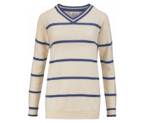 Striped Wool And Cashmere-blend Sweater Creme