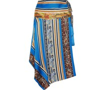 Asymmetric Printed Silk-faille Wrap Skirt