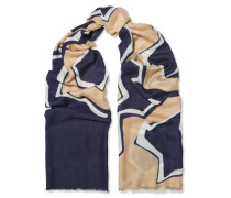 Kenley Intarsia Cashmere Scarf Navy