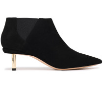 Metallic-trimmed Suede Ankle Boots
