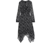 Asymmetrisches Kleid aus Krepon mit Print, Rüschen und Gürtel